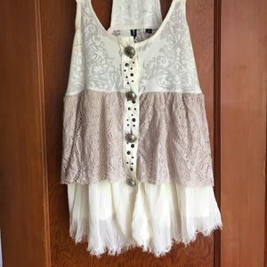 Rare lacy tank top. BKE boutique. MADE IN USA